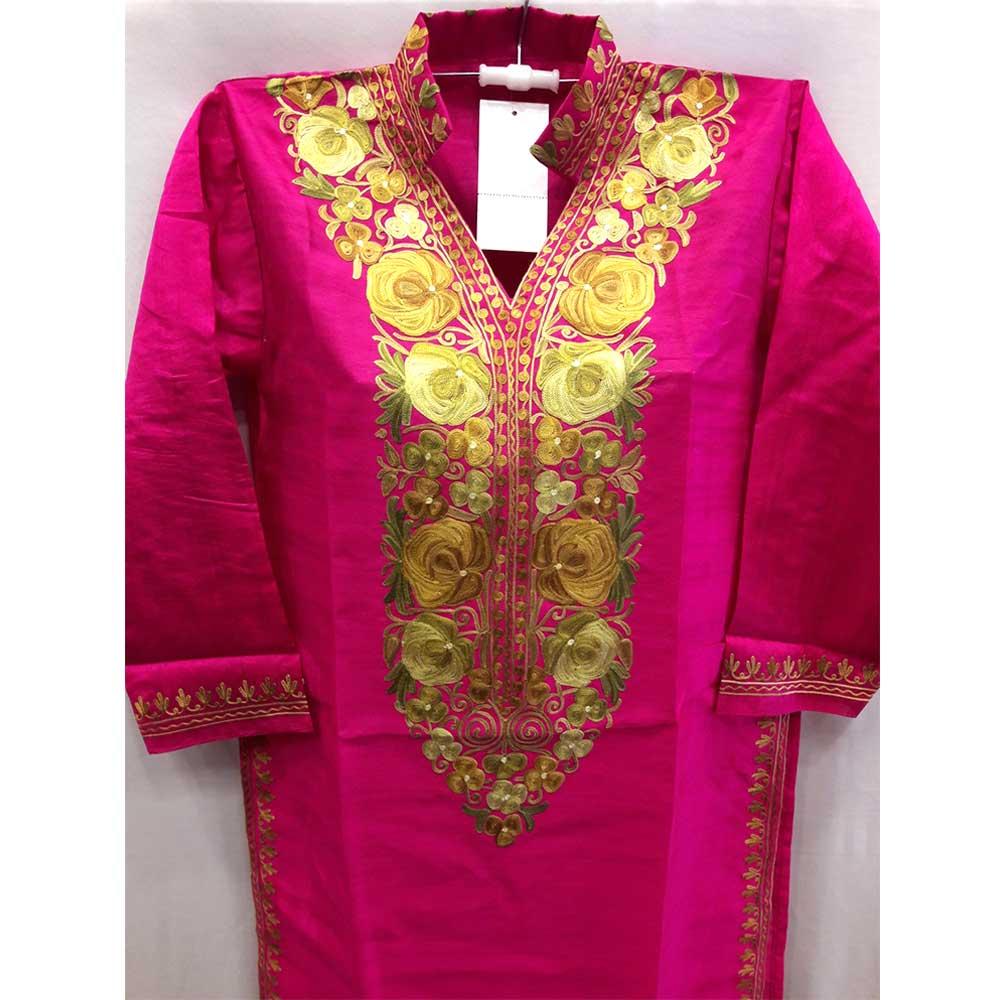 Deep Pink Summer Kashmiri Embroidered Long Kurti