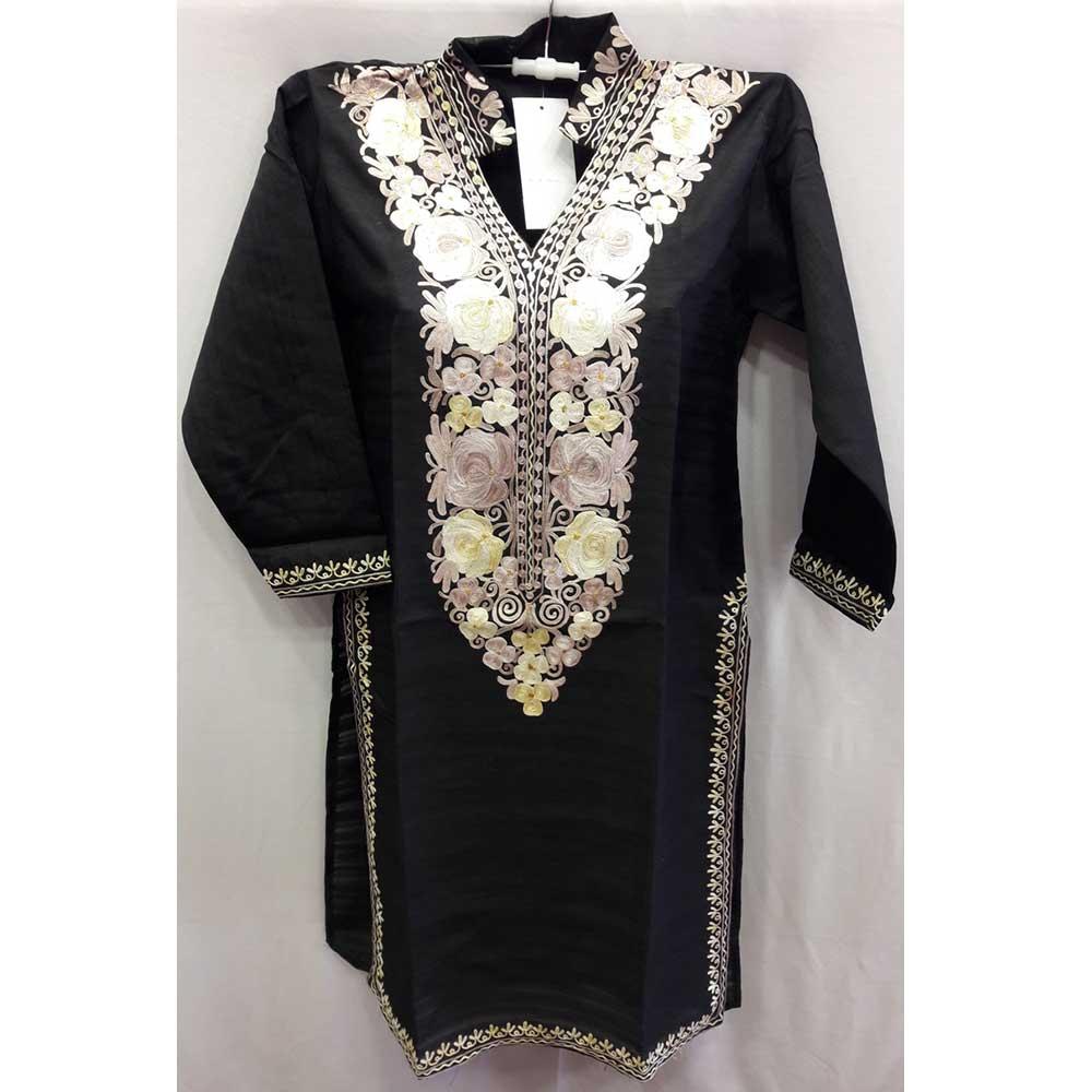 Black Summer Kashmiri Embroidered Long Kurti