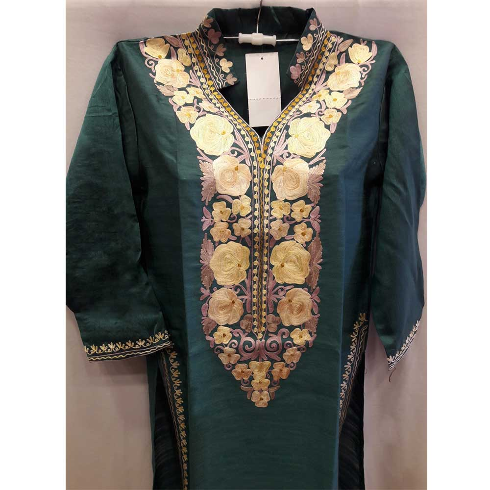 Eco Green Summer Kashmiri Embroidered Long Kurti