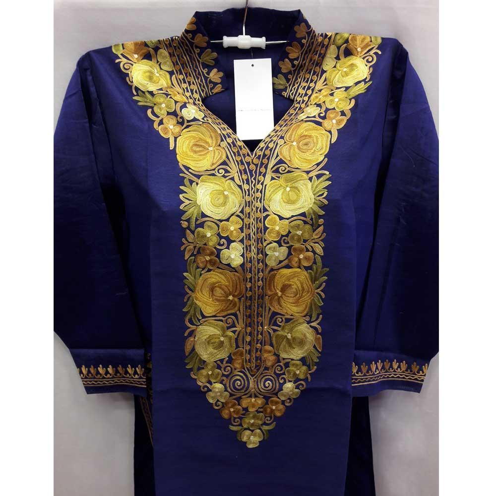 Navy Blue Summer Kashmiri Embroidered Long Kurti