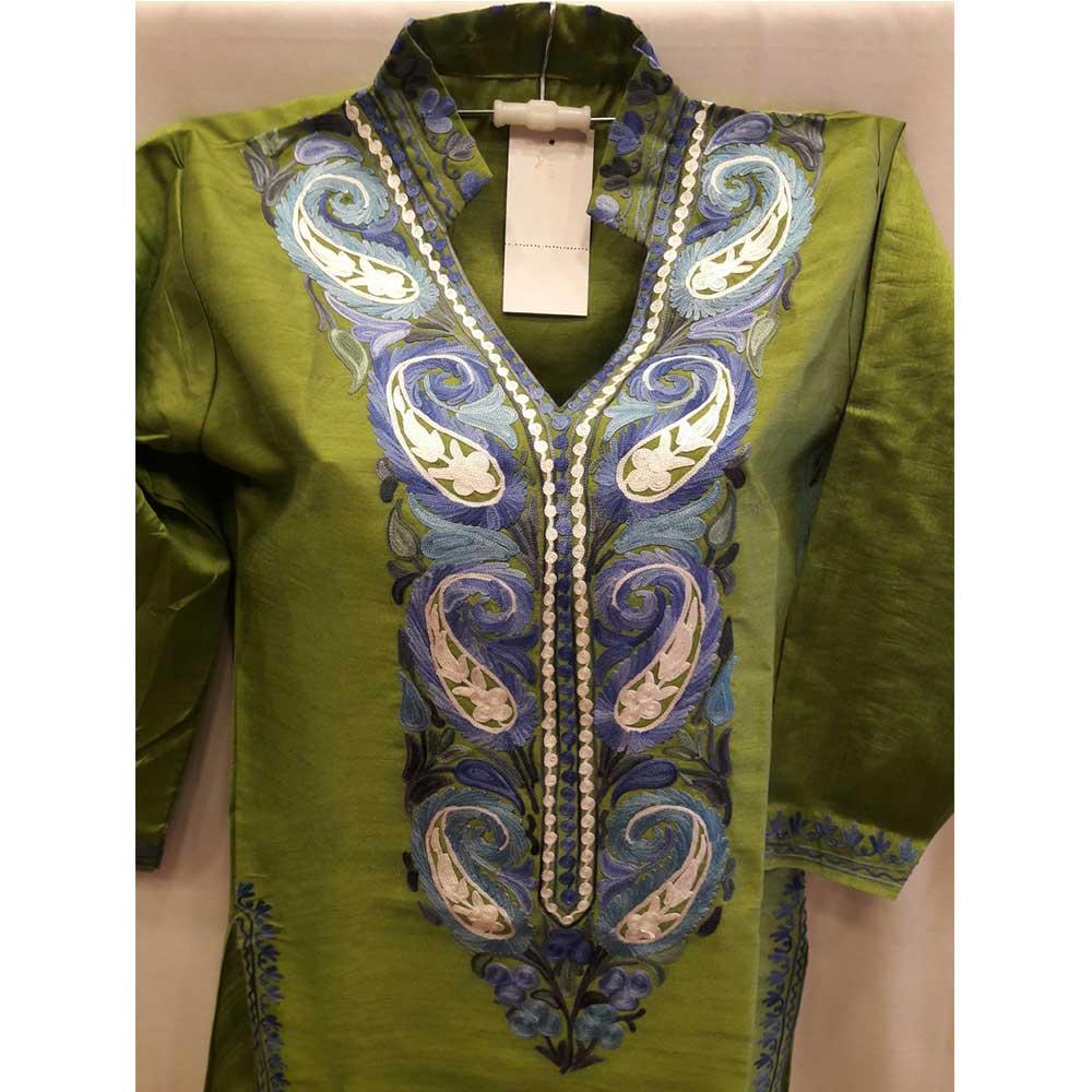 Grass Green Summer Kashmiri Embroidered Long Kurti