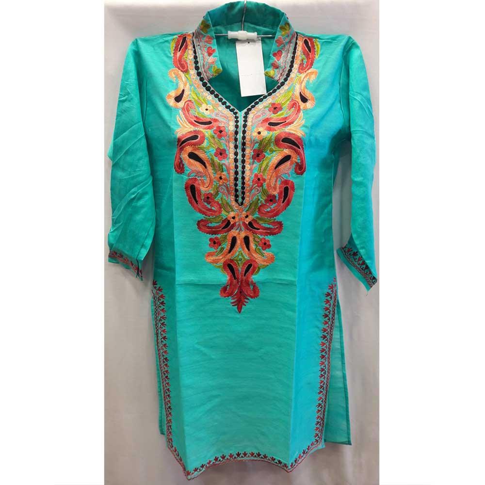 Turquoise Summer Kashmiri Embroidered Long Kurti