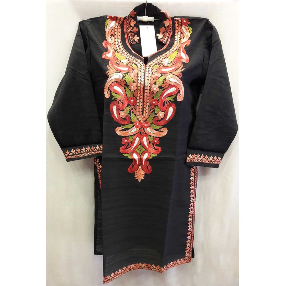 Glossy Black Summer Kashmiri Embroidered Long Kurti