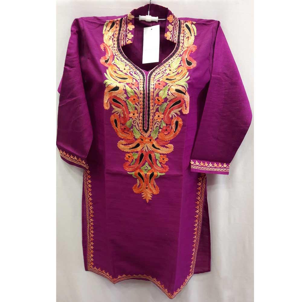 Purple Collar Summer Kashmiri Embroidered Long Kurti