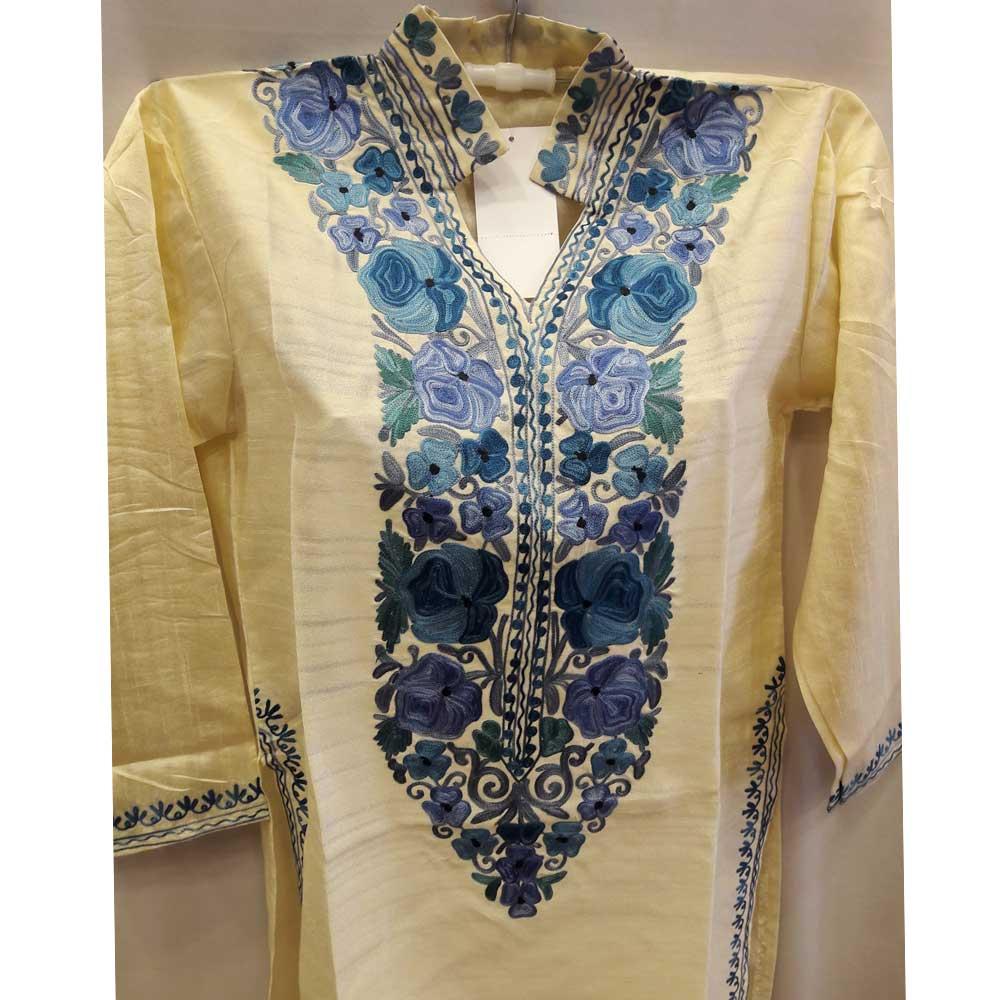 Cream Blue Summer Kashmiri Embroidered Long Kurti