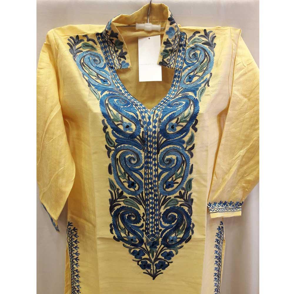 Golden Yellow Summer Kashmiri Embroidered Long Kurti