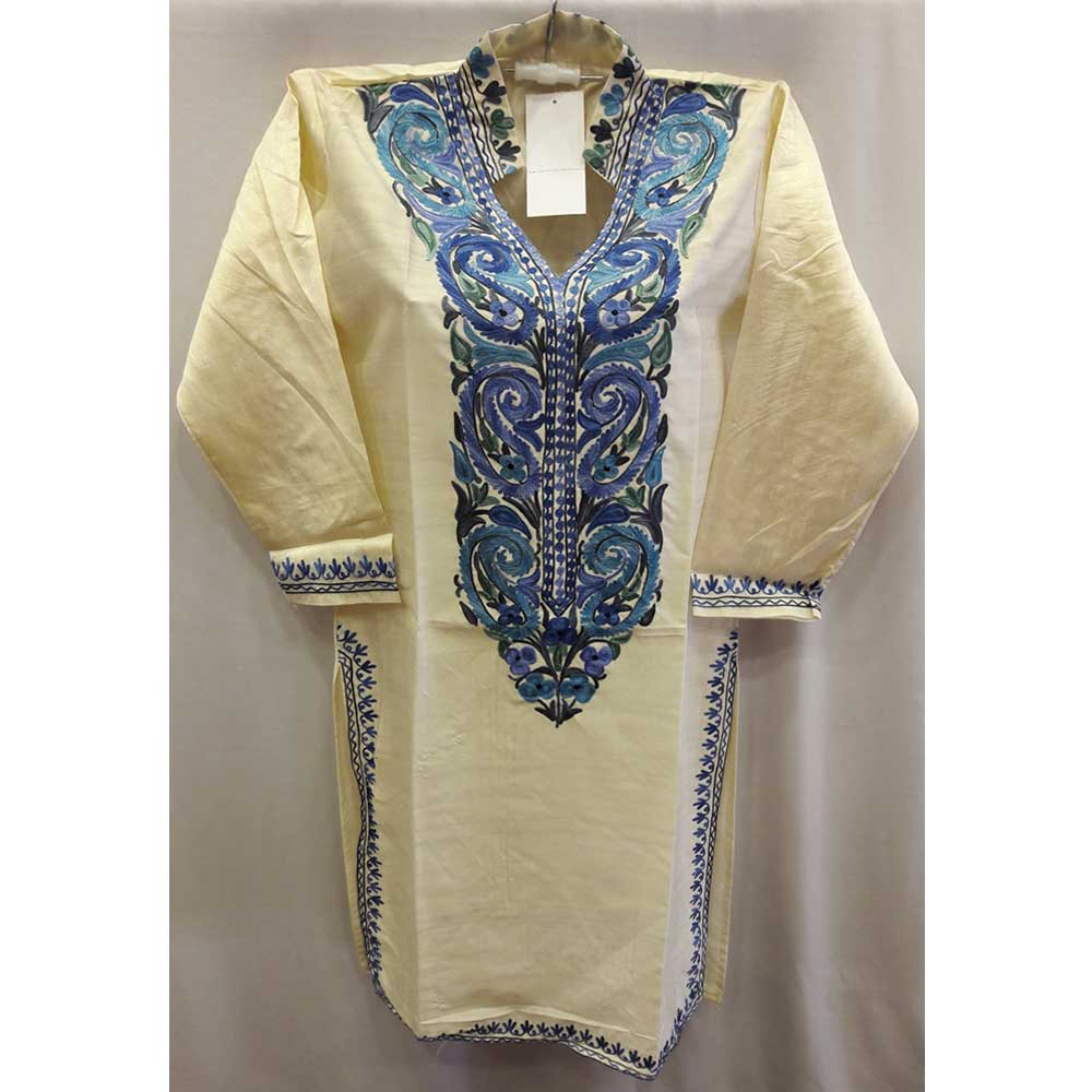 Cream Summer Kashmiri Embroidered Long Kurti