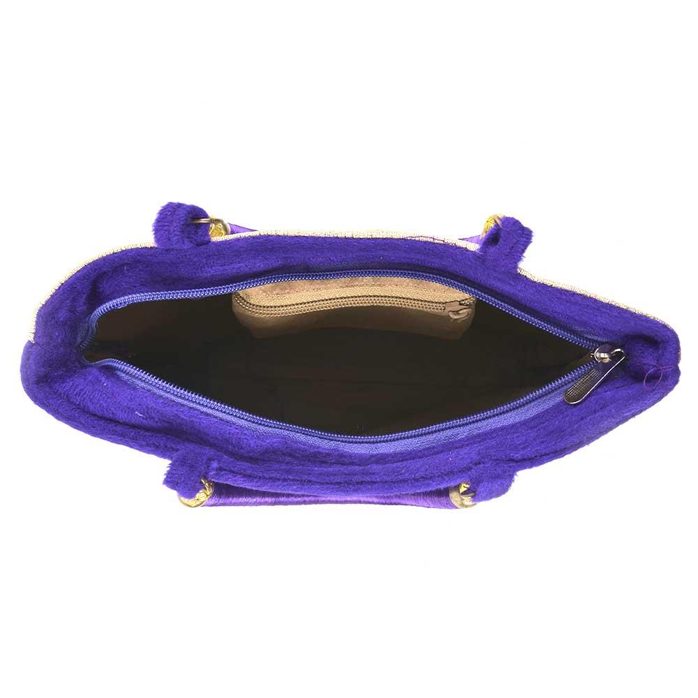 Purple Gold Velvet Hand Bag