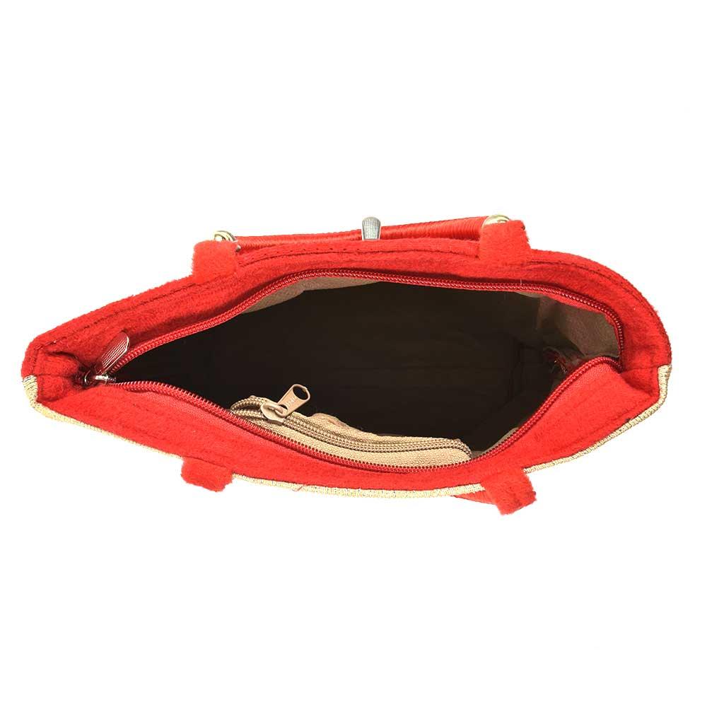Red Gold Velvet Hand Bag