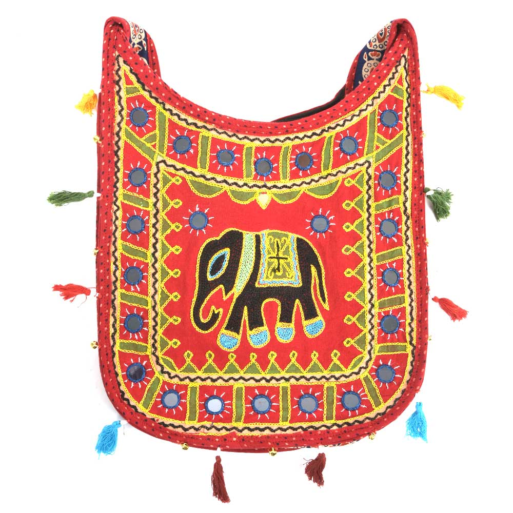 Maroon Embroidered Elephant Sling Bag