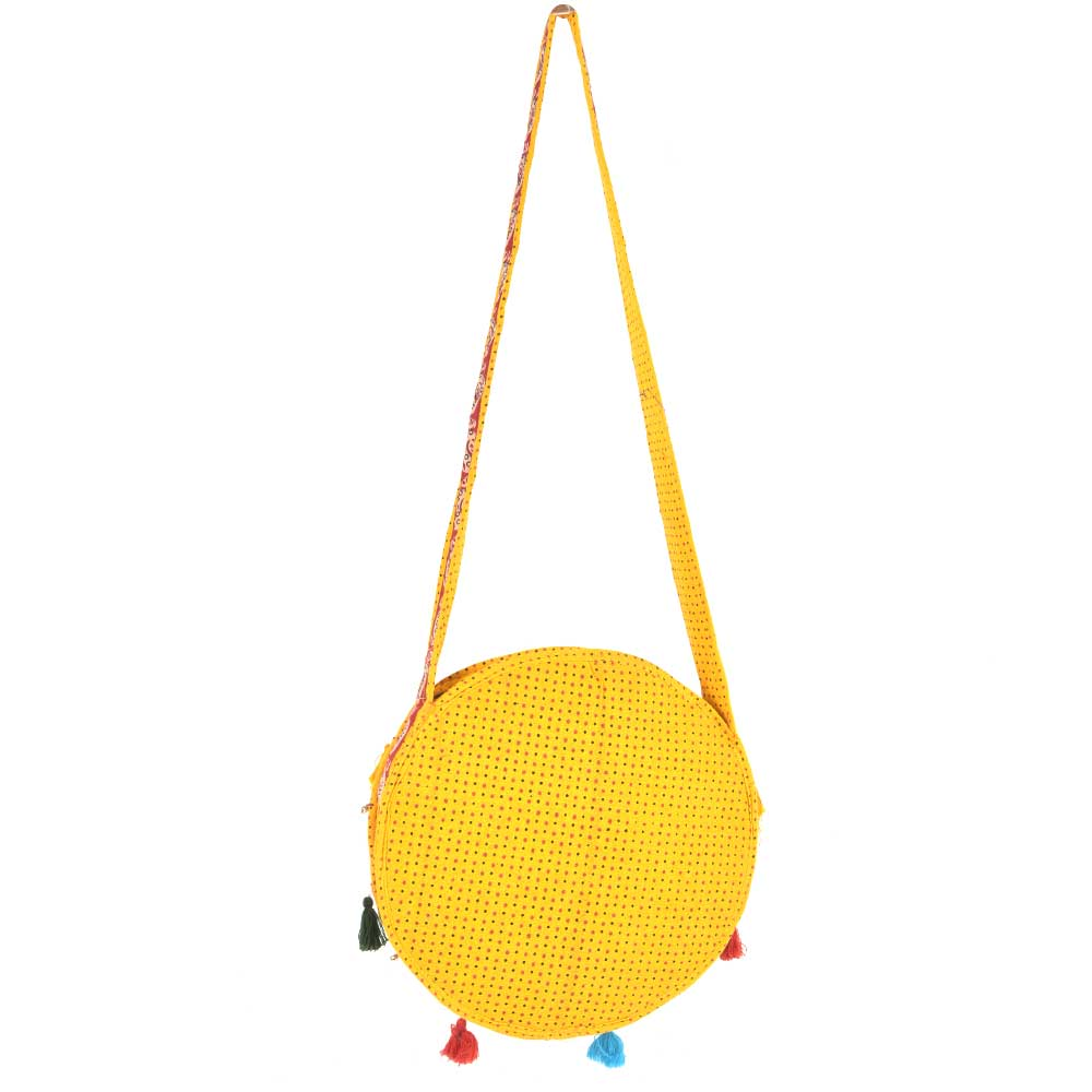 Yellow Hand Embroidered Sling Bag Round Shape