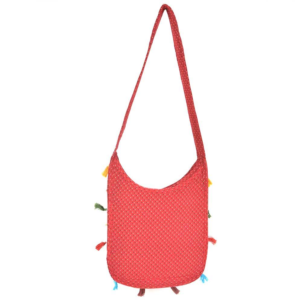 Red Embroidered Elephant Sling Bag