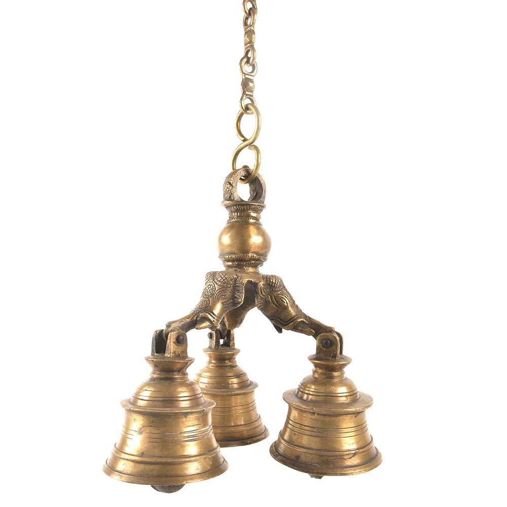 Vintage Brass 3-Bell with a Long Chain