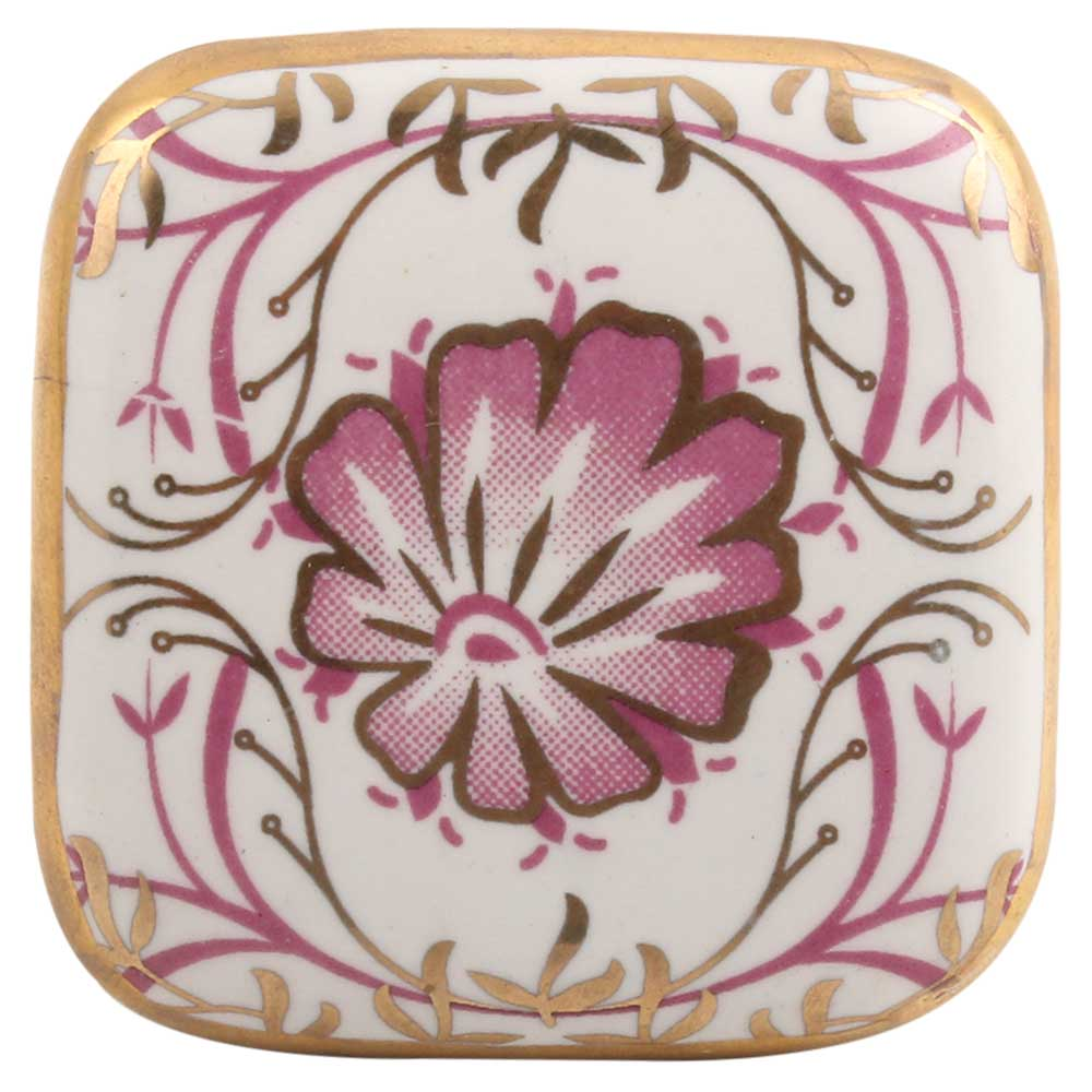 Pink Flower Square Ceramic Dresser Knob Online