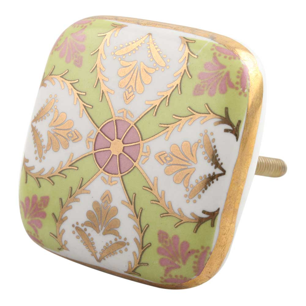 Golden Leaf Flower Square Ceramic Drawer Knob Online