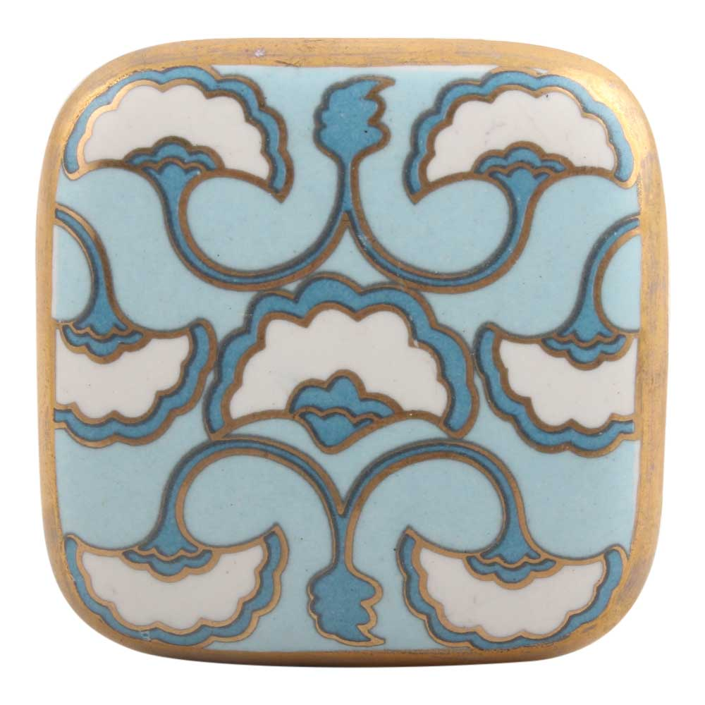 Turquoise Sea Shell Design Square Ceramic Cabinet Knob Online