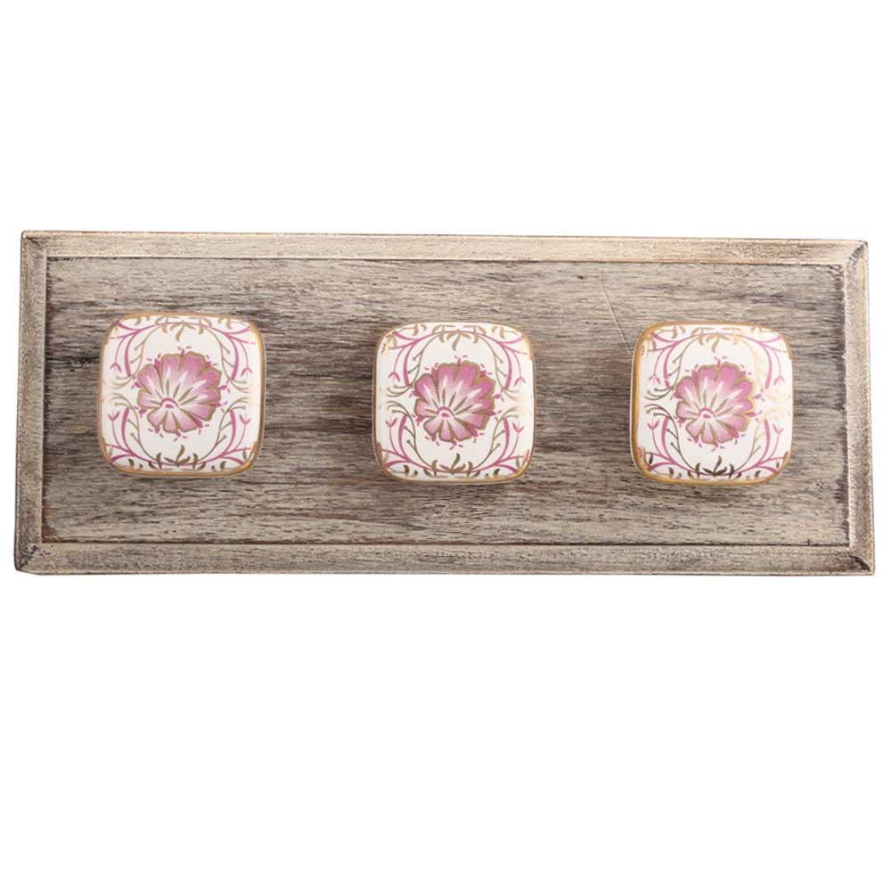 Pink Flower Square Ceramic Wooden Hooks