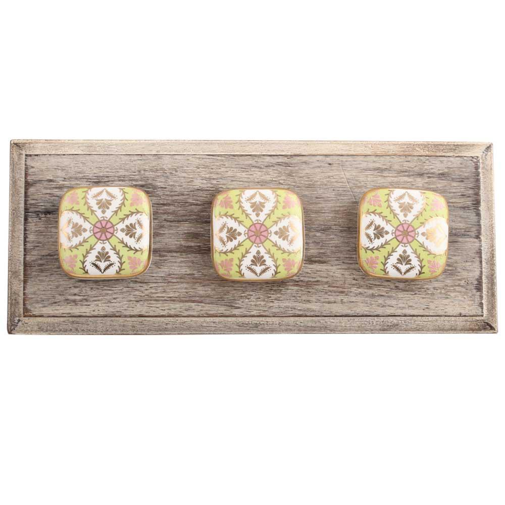 Golden Leaf Flower Square Ceramic Wooden Hooks