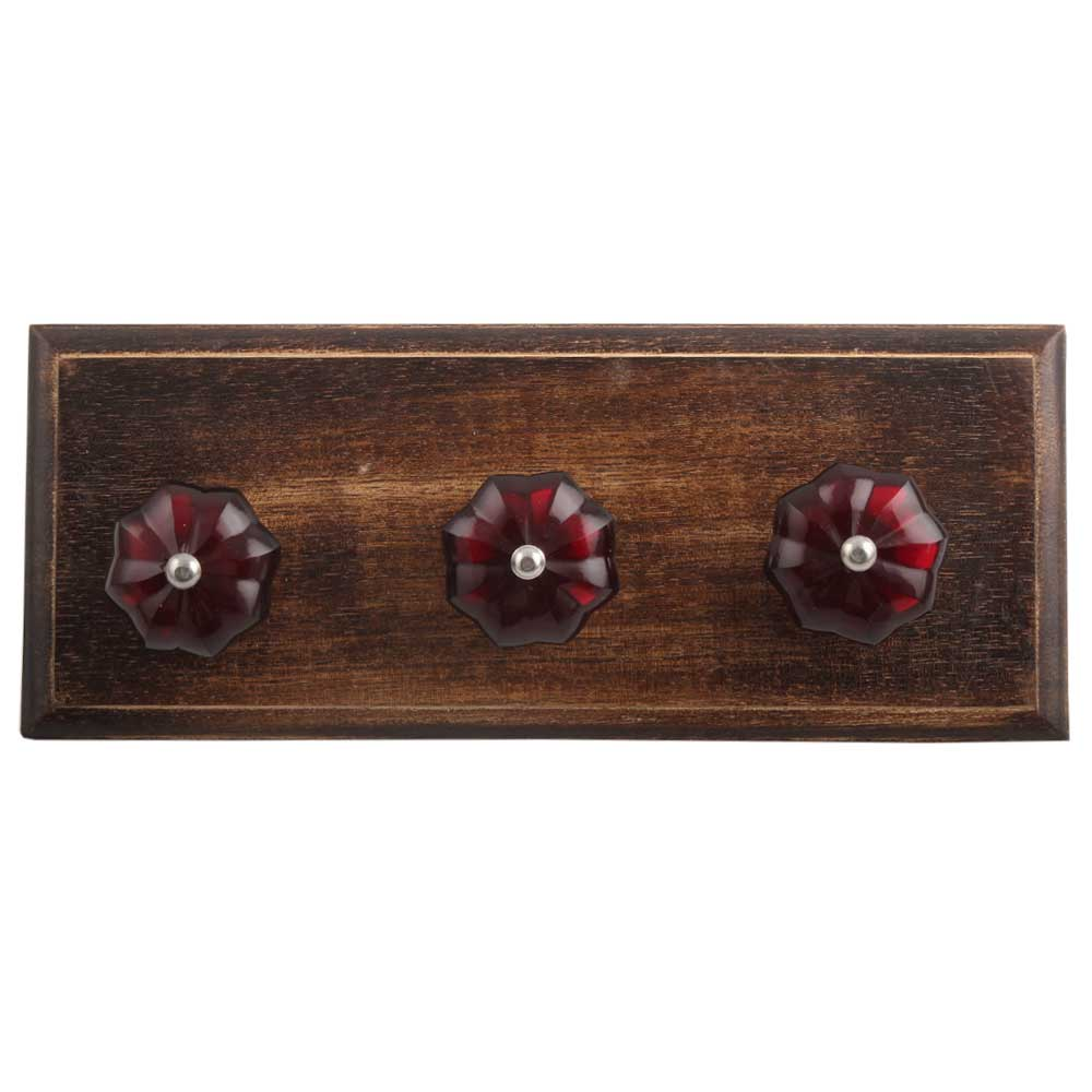 Red Melon Glass Wooden Hooks