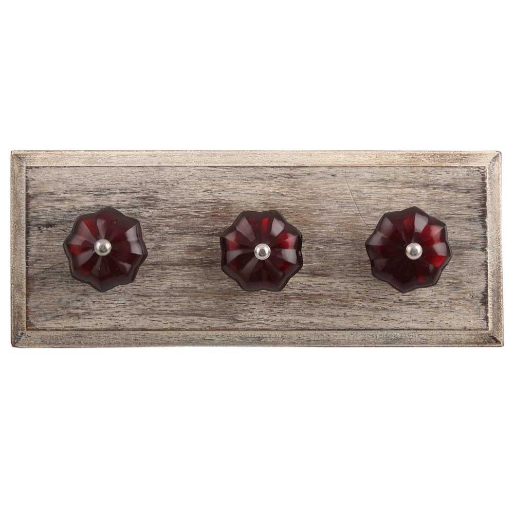 Red Melon Glass Wooden Hooks