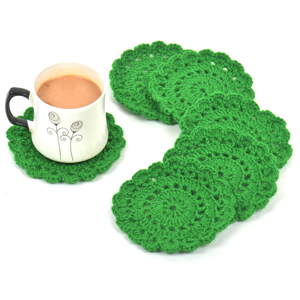 Green Round Woolen Handmade Coasters Pack of 6