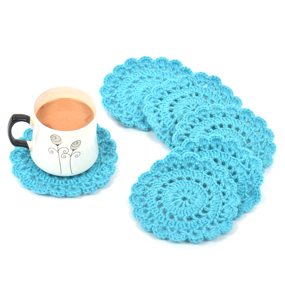 Sky Blue Round Handmade Woolen Coasters Pack Of 6