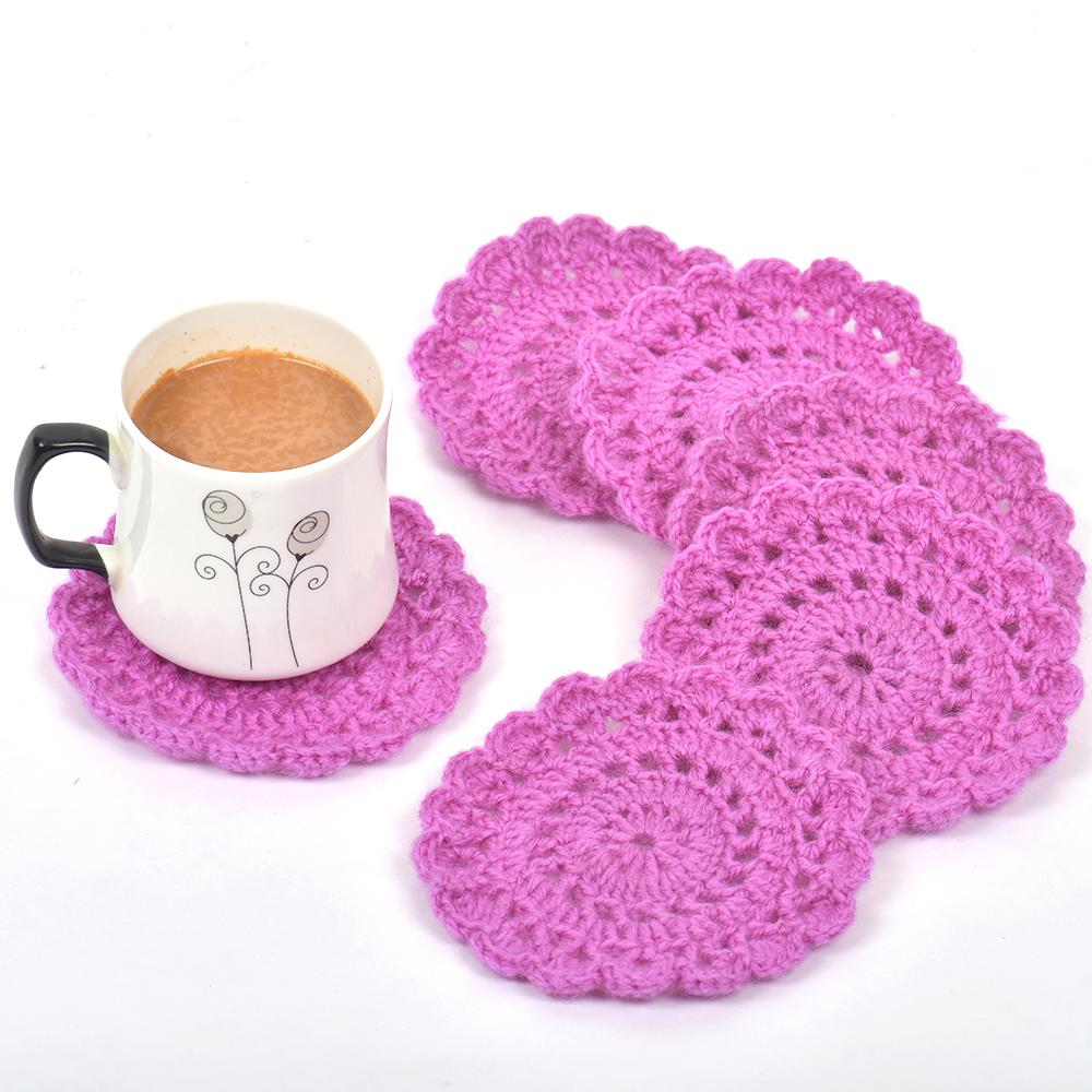 Pink Round Handmade Woolen Coasters Pack Of 6