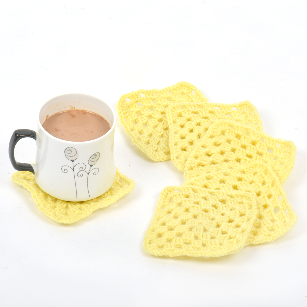 Yellow Square Handmade Woolen Coasters Pack Of 6