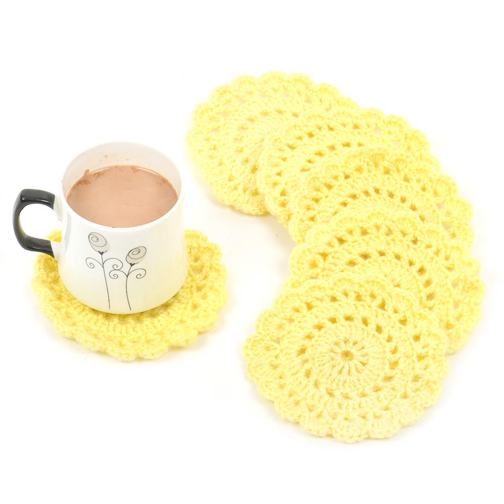 Yellow Round Handmade Woolen Coasters Pack Of 6