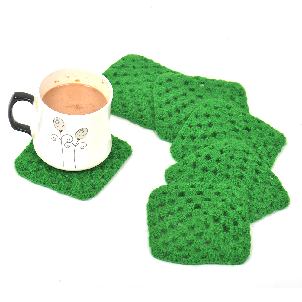 Green Square Handmade Woolen Coasters Pack Of 6