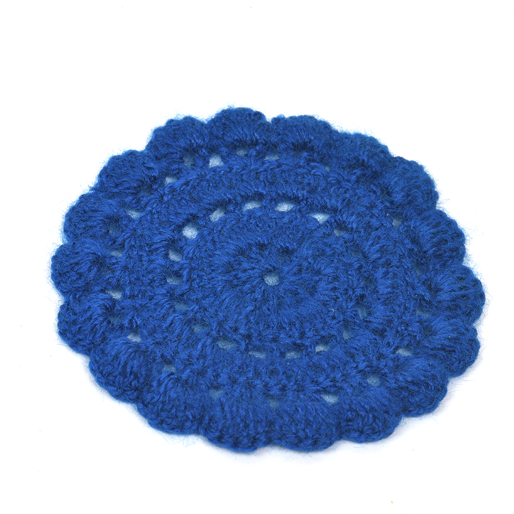 Dark Blue Round Woolen Handmade Coasters Pack Of 6
