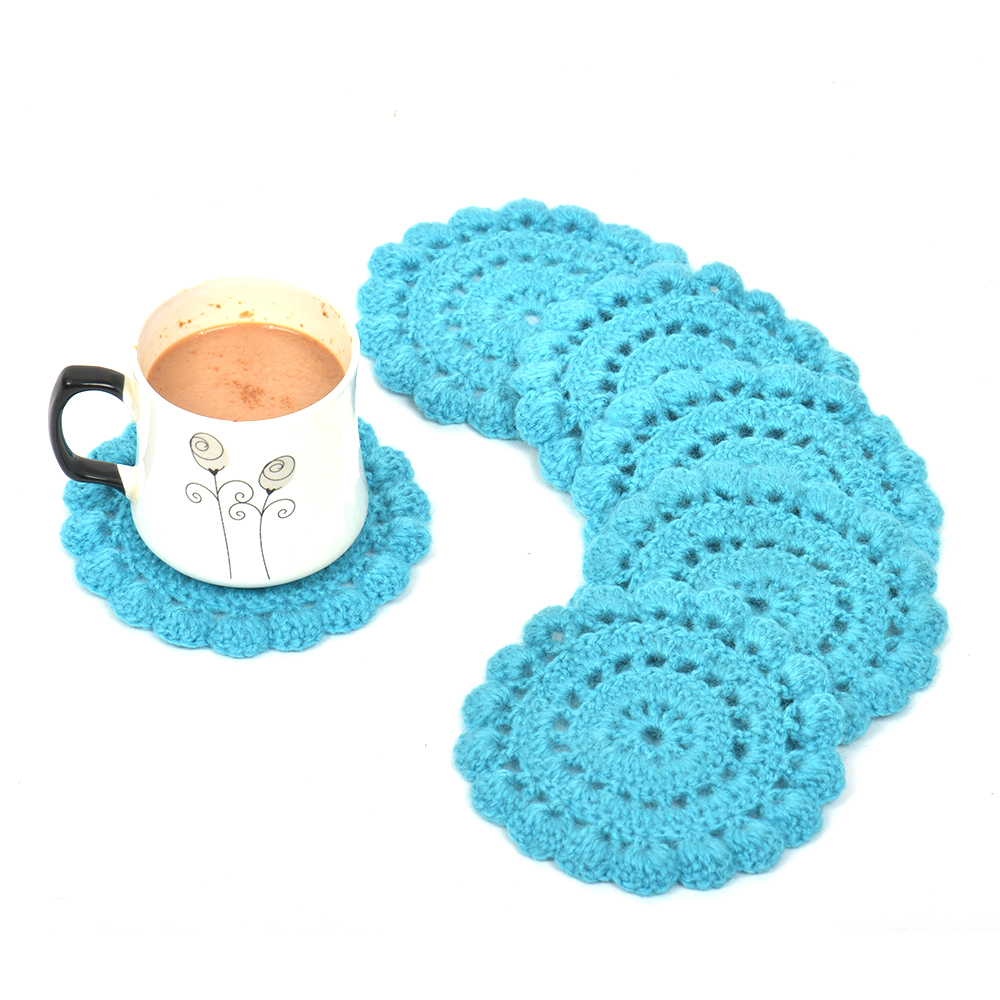 Turquoise Round Woolen Handmade Coasters Pack Of 6