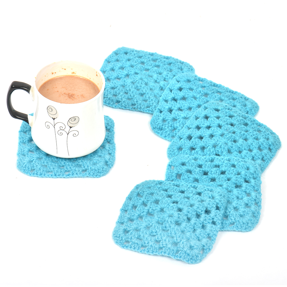 Turquoise Square Woolen Handmade Coasters Pack Of 6