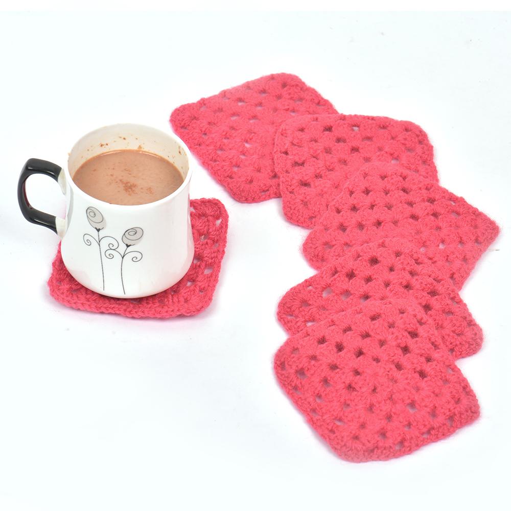 Dark Pink Square Handmade Woolen Coasters Pack Of 6