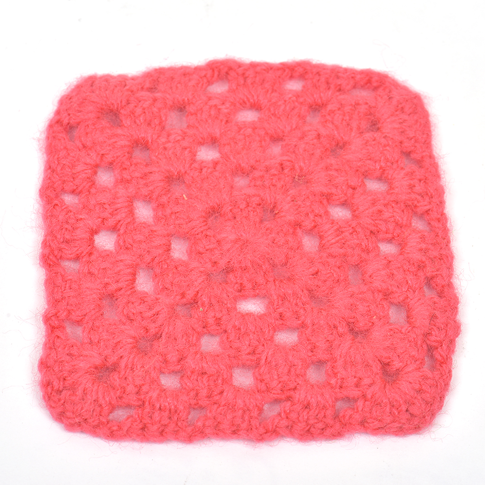 Dark Pink Square Handmade Woolen Coasters Pack Of 6