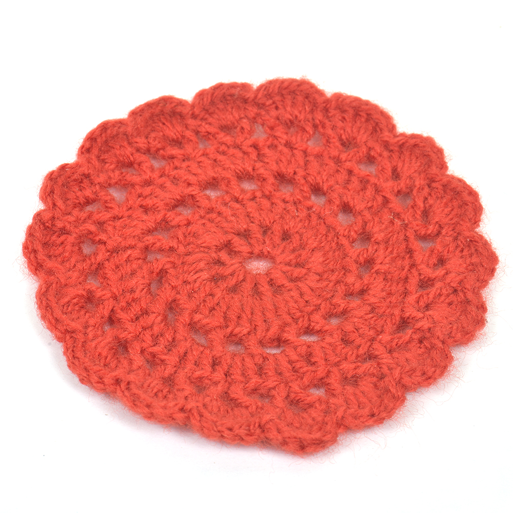 Red Round Handmade Woolen Coasters Pack Of 6