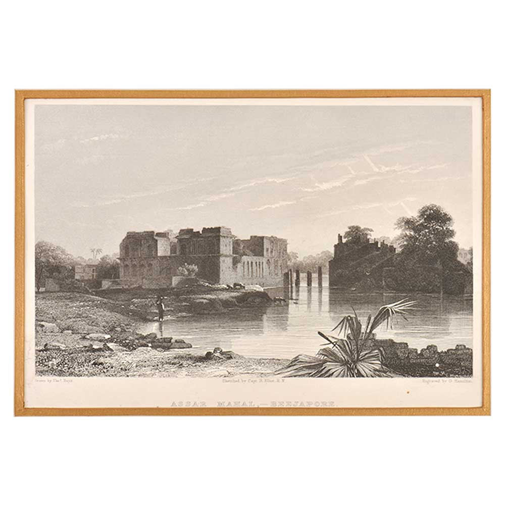 Lithograph Of Assar Mahal Beejapore