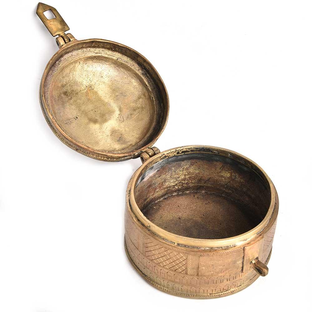Brass Round Jewellery Box