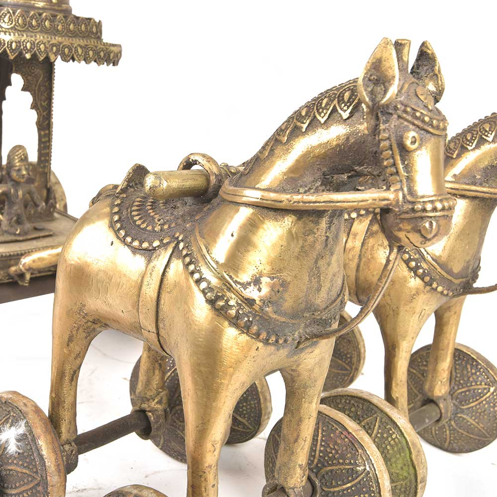 Brass Decorative Chariot Driven by Two Horses