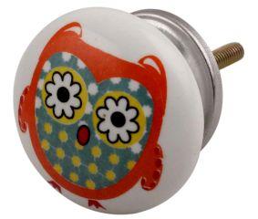 Orange Owl Ceramic Flat Drawer Knob Online