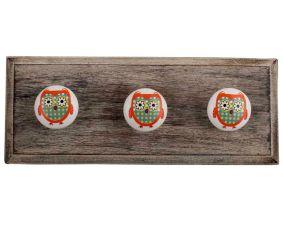 Orange Owl Ceramic Flat Wooden Hooks