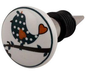 Slate Green Bird Flat Ceramic Wine Stopper