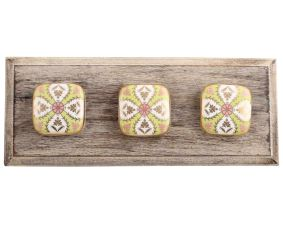 Golden Leaf Flower Square Ceramic Wooden Hooks
