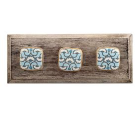 Turquoise Sea Shell Design Square Ceramic Wooden Hooks