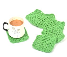 Grass Green Square Handmade Woolen Coasters Pack Of 6