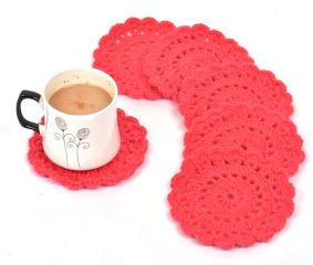 Dark Pink Round Handmade Woolen Coasters Pack Of 6