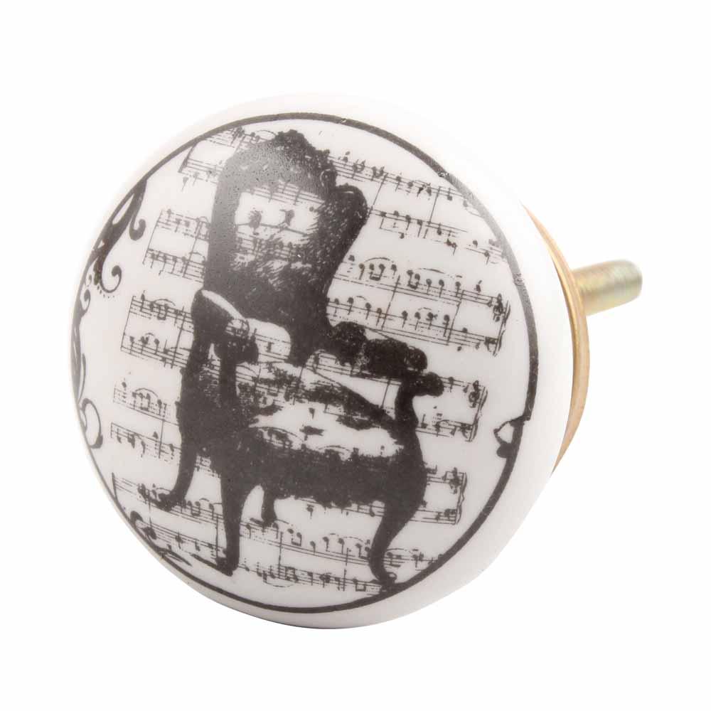 Black Chair Flat Ceramic Drawer Knob