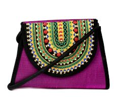 Purple Hand Embroidered Ladies Purse