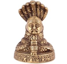 Brass Shivlinga With 7 Hooded Snake