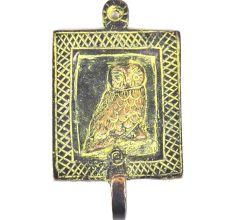 Brass Owl Engraved Patina Framed Wall Hook